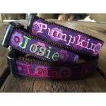 "The Purple Flowers 1"" Width Personalized Dog COLLAR"