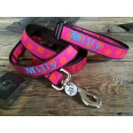 "Orange/Pink Silly Dots 1"" Width Dog LEAD"