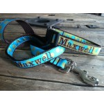 "Olive/Turquoise Silly Dots 1"" Width Dog LEAD"