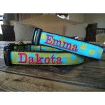 "Olive/Turquoise Silly Dots 1"" Width Personalized Dog COLLAR"
