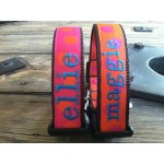 "Orange/Pink Silly Dots 1"" Width Personalized Dog COLLAR"