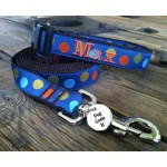 "Navy Silly Dots 1"" Width Personalized Dog COLLAR"