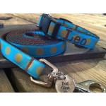 "Olive/Turquoise Silly Dots 5/8"" Width Personalized Dog COLLAR"