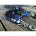 "Navy Silly Dots 5/8"" Width Personalized Dog COLLAR"