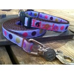 "Purple Silly Dots 5/8"" Width Dog LEAD"