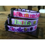 "Purple Silly Dots 5/8"" Width Personalized dog COLLAR"