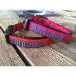 "Orange/Pink Silly Dots 5/8"" Width Personalized Dog COLLAR"