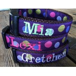 "Purple Silly Dots 1"" Width Personalized Dog COLLAR"