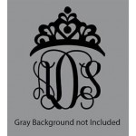 5 inch Princess Crown Vinyl Monogram decal (1 piece)
