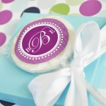 """Something Sweet"" Monogram Personalized Lollipop Favors"