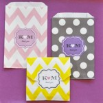 """Love is Sweet"" Personalized Chevron & Dots Goodie Bags (set of 12)"