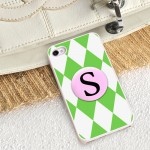 Green Diamonds iPhone Case with White Trim