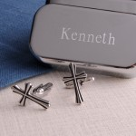 Silver Cross Cufflinks with Personalized Case