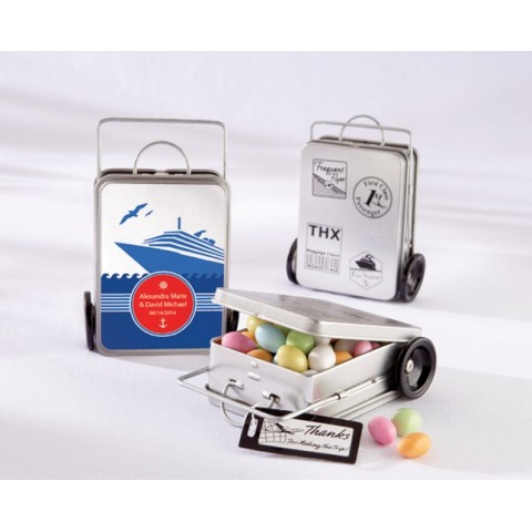 """""""Miles of Memories"""" Suitcase Favor Tins (Set of 12) (Personalization Available)"""