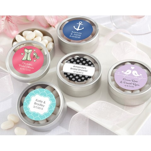 """""""Simply Sweet"""" Round Candy Tin - Wedding (Set of 12) (Available Personalized)"""