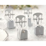 Miniature Silver Chair Favor Box w/ Heart Charm & Ribbon (Set of 12) (Available Personalized)