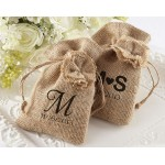 """Rustic Renaissance"" Burlap Favor Bag with Drawstring Tie - Available Personalized (Set of 12)"