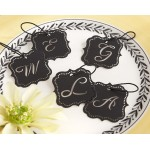 """Elite"" Black Laser-Cut Monogram Tags (Set of 24)"