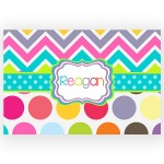 Rainbow Chevron Polka Dots Personalized Kitchen, Bed or Bath Rug