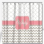 Petals Chevron Pattern Personalized Shower Curtain