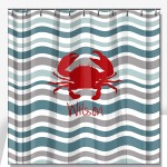 Waves with Crab Personalized Shower Curtain