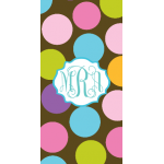 Monogrammed Chocolate Dots Beach Towel