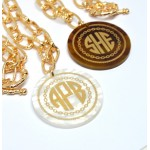 Engraved Gold Rope Monogram Necklace
