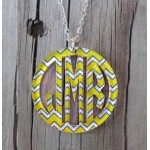 Bordered Monogram Pendant Necklace – Chevron