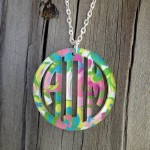Bordered Monogram Pendant Necklace – Mary Beth Goodwin