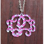 Pendant Monogram Necklace – Chevron