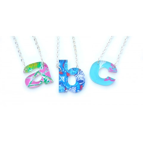 Acrylic Floating Single Letter Lower Case Necklace