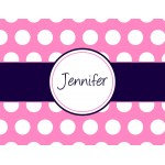 Monogram Pink Dot Stationery