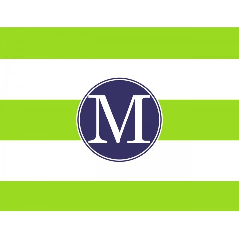 Monogrammed Stationery in Fresh Lime Stripes