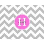 Monogrammed Stationery in Grey Chevron with a touch of pink