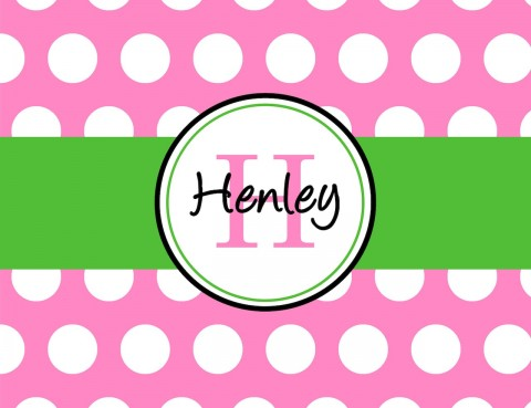 Monogrammed Stationery in Bright Pink and Kelly Green