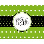Monogrammed Stationery in Green Dots