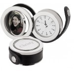 Engraved Roll-Out Swivel Photo Travel Clock
