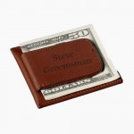 Persoanlized Brown Leather Wallet Money Clip