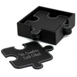 Black Leather Puzzle Coasters