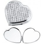 Engraved Heart Stones Compact Mirror