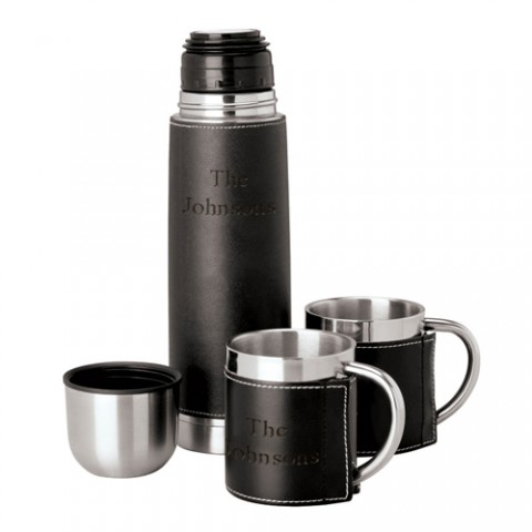 Personalized Steel Flask and Cup Set