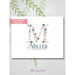 Shabby chic wedding guestbook alternative - family name monogram guest book canvas - navy and pink wedding (3921)