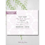 Damask wedding guest book alternative, romantic love quote, today I marry my best friend, personalized guest signing canvas (3921)