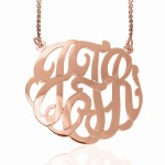 Rose Gold Monogrammed Cutout Necklace