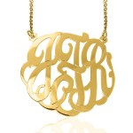 Gold Monogrammed Cutout Necklace