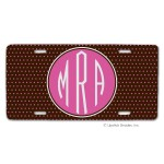 Chocolate/Pink Swiss Dots Car Tag