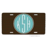 Chocolate/Blue Swiss Dots Car Tag