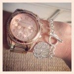 Gold Monogram Charm Toggle Bracelet with Engraved Disc Charm