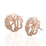 Rose Gold Monogrammed Script Stud Earrings