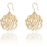 Gold Monogrammed Script Earrings